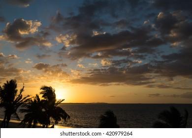 Beautiful sunset on the ocean on  background of palm trees. Fiji. Nadi.