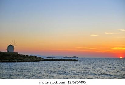 Beautiful sunset on Paros island, Cyclades, Greece