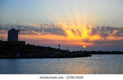 Beautiful sunset on Paros island, Mediterranean sea, Greece