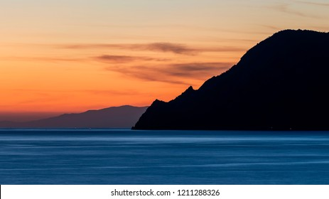 Beautiful sunset on Punta Mesco, Cinque Terre park, Liguria, Italy