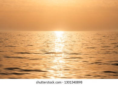 Beautiful sunset on a quiet mediterranean sea in Greece near Athens, September 2016