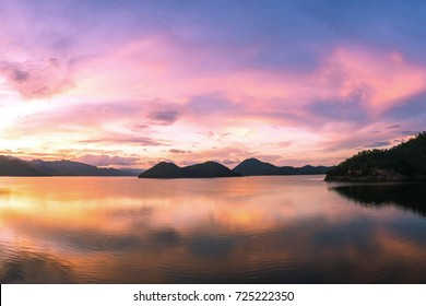 beautiful sunset on the reservoir at Khuean Srinagarindra National Park kanchanaburi povince , landscape Thailand