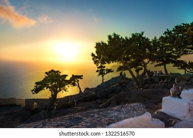 Beautiful sunset on Rhodes island from Monolithos castle (Rhodes, Greece)