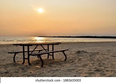 A beautiful sunset on sandbanks beach, Ontario Canada