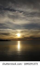 beautiful sunset on the sea. The evening sky.
