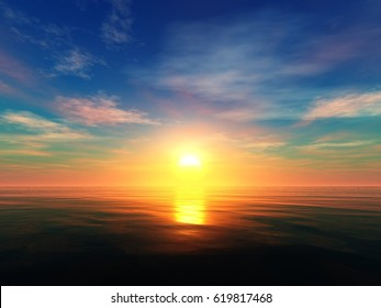 Beautiful sunset on the sea, sea sunrise, light over the ocean, 3d rendering