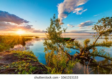 A beautiful sunset on the shore of Pleshcheyevo Lake in Pereslavl-Zalessky, Yaroslavl region, Russia
