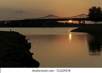 Beautiful sunset on the Tennessee River at the Whitesburg Bridge in Huntsville, Alabama