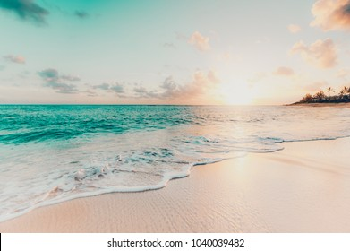 Beautiful sunset on the tropical beach and sea landscape. Tropical beach with white sand