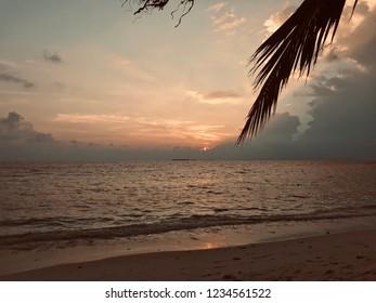 beautiful sunset on Ukulhas island, maldives