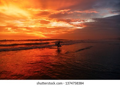 A beautiful sunset at one of the beaches of Canggu, Bali, Indonesia.