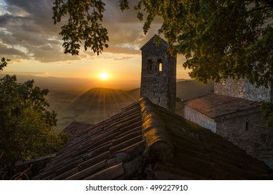 Beautiful sunset over a  Alazani valley with ancient monastery in Georgia.