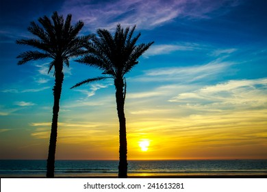Beautiful sunset over Atlantic Ocean in Agadir, Morocco