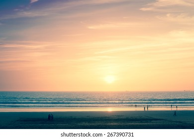 Beautiful sunset over Atlantic Ocean in Agadir, Morocco