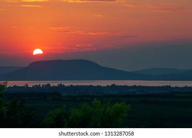 Beautiful sunset over Badacsony mountain at Lake Balaton, Hungary