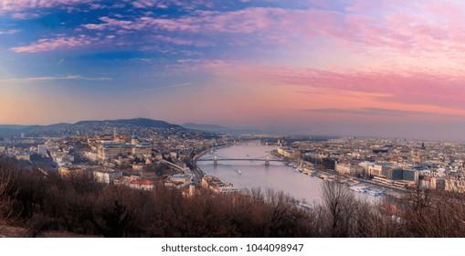 Beautiful sunset over Budapest from Gellert hill, Hungary