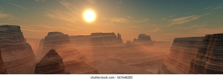 Beautiful sunset over the Canyon, sunrise in a mountain wilderness, 3d rendering.
