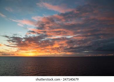 Beautiful sunset over the Caribbean Sea.