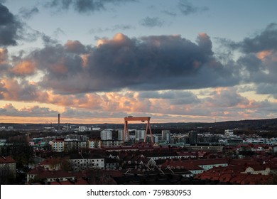 Beautiful sunset over the city of Gothenburg.