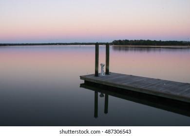 Beautiful sunset over a dock in South Carolina.