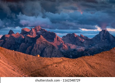 Beautiful sunset over the Dolomites Mountains - Italy.