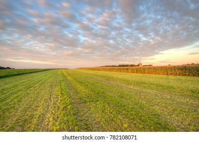 Beautiful sunset over Dutch flat farmland, Soester Engh, Soest, The Netherlands.
