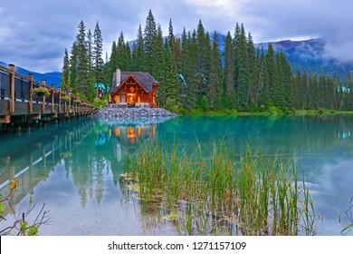 Beautiful sunset over Emerald Lake, Yoho National Park, British Columbia, Canada