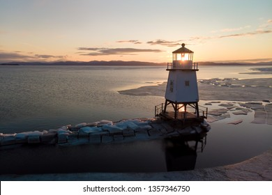 Beautiful Sunset over the frozen lake in Burlington, VT