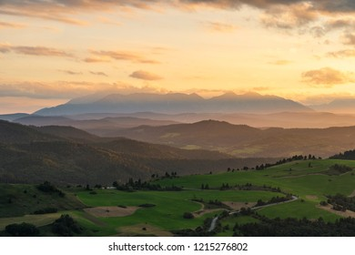 Beautiful sunset over high rocky peaks in High Tatras mountains on Slovak and Polish border.