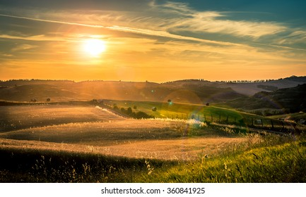 Beautiful sunset over hills of Tuscany, Italy