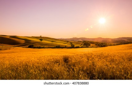 Beautiful sunset over hills of Tuscany in Italy
