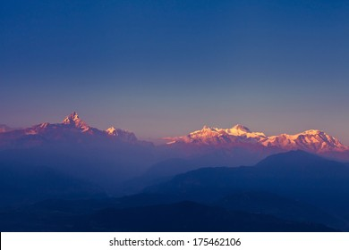 beautiful sunset over Himalaya mountains