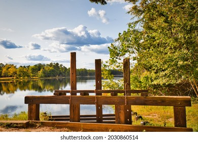 A beautiful sunset over the lake in Batsto village in the Pine Barrens of NewJersey, USA