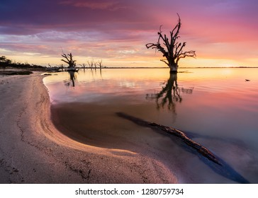 Beautiful sunset over Lake Bonney, South Australia