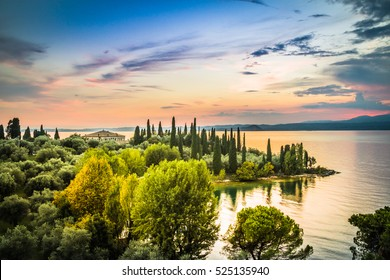 A beautiful sunset over the lake Garda. Italy.