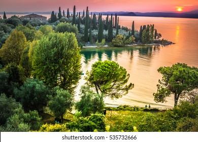 A beautiful sunset over the lake Garda. Italy.