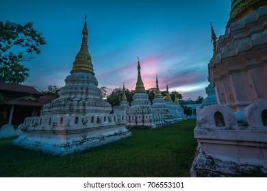 Beautiful sunset over Lanna Thai Pagoda, Thailand