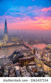 Beautiful sunset over London, with the Shard and London Bridge. London, UK
