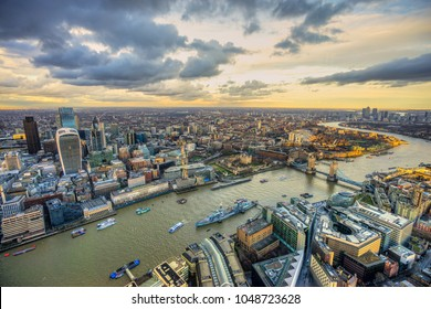 Beautiful sunset over London, view from the Shard. London, UK