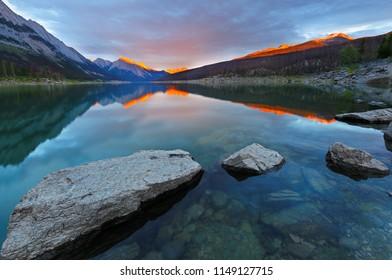 Beautiful sunset over Medicine Lake, Jasper National Park, Alberta, Canada