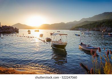 Beautiful sunset over the mediterranean sea.