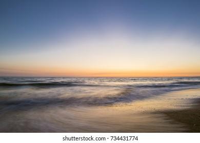 Beautiful sunset over the mediterranean sea. Sabaudia, Italy.