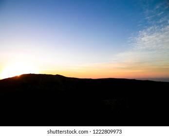 Beautiful sunset over Montana Roja, Lanzarote. Montana Roja is a volcano on Lanzarotte, Canary Islands.