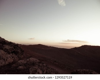 Beautiful sunset over Montana Roja, Lanzarote. Montana Roja is a volcano on Lanzarotte, Canary Islands.