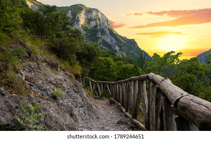 Beautiful sunset over Mount Olympus in Greece. This is the small road to Enipea source of the river Zeus Bath near the village of Litochoro