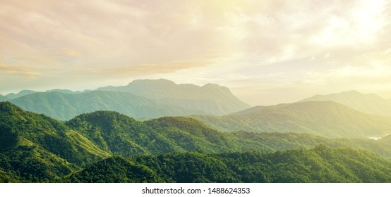 Beautiful sunset over the mountain ,Natural summer landscape on panorama