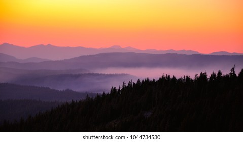 beautiful sunset over mountains