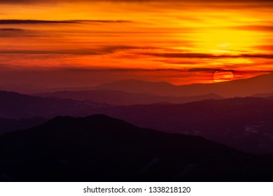 Beautiful sunset over mountains layers in Umbria (Italy)