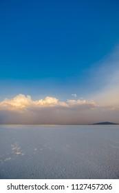 A beautiful sunset over a natural salt lake in Ethiopia, Afar region
