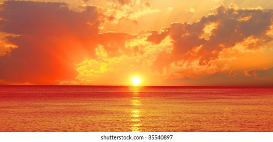 Beautiful sunset over the ocean